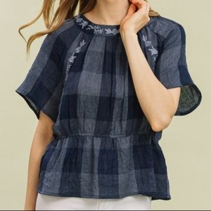 Tops - NWT Checkered Short Sleeve Embroidered Top